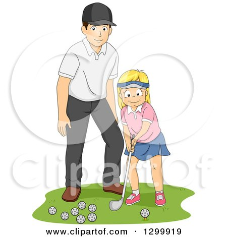 Clipart of a Blond White Girl Getting a Golf Lesson from a Coach or Her Dad - Royalty Free Vector Illustration by BNP Design Studio