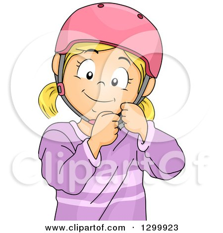 Clipart of a Blond White Girl Fastening a Helmet - Royalty Free Vector Illustration by BNP Design Studio