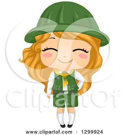 Clipart of a Happy Blond White Girl Scout in Uniform - Royalty Free Vector Illustration by BNP Design Studio