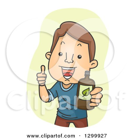 Clipart of a Cartoon Brunette White Man Giving a Thumb up and Holding out a Drink or Medicine - Royalty Free Vector Illustration by BNP Design Studio