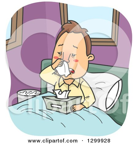 Clipart of a Cartoon Sick with Man Blowing His Nose in Bed - Royalty Free Vector Illustration by BNP Design Studio