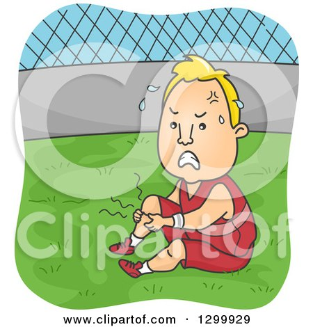 Clipart of a Cartoon Blond White Man Suffering from Leg Cramps During Soccer Practice - Royalty Free Vector Illustration by BNP Design Studio