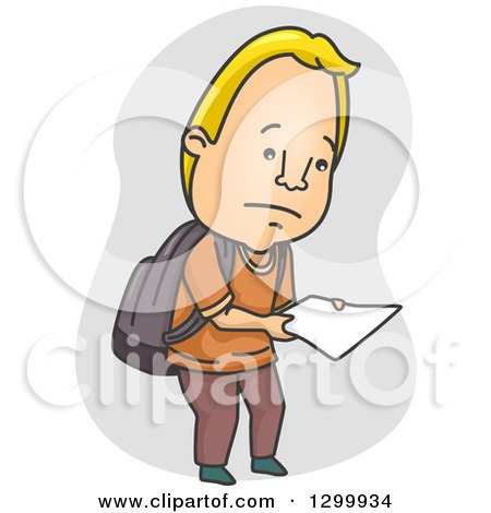Clipart of a Cartoon Blond White Male College Student Looking down at a Badly Graded Paper - Royalty Free Vector Illustration by BNP Design Studio