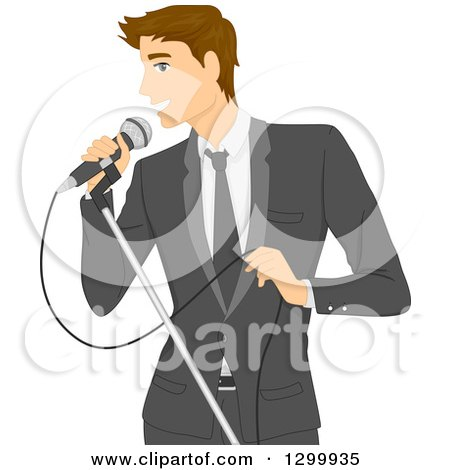 Clipart of a Formal Brunette White Man in a Suit, Singing into a Microphone - Royalty Free Vector Illustration by BNP Design Studio