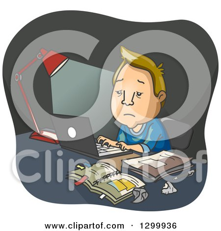 Clipart of a Cartoon Haggard Blond White Man Working Late at His Desk - Royalty Free Vector Illustration by BNP Design Studio