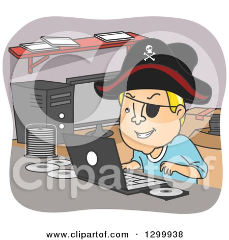 Clipart of a Cartoon Blond White Man Pirating Dvds and Wearing a Hat at a Desk - Royalty Free Vector Illustration by BNP Design Studio