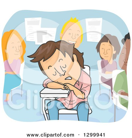 Clipart of a Cartoon Tired Brunette White College Man Sleeping in Class - Royalty Free Vector Illustration by BNP Design Studio