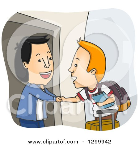 Clipart of a Cartoon Friendly Asian Man Welcoming a White Foreign Exchange Student in His Home - Royalty Free Vector Illustration by BNP Design Studio
