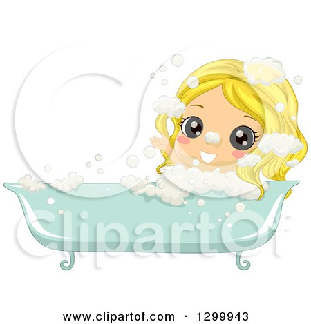 Clipart of a Blond White Girl Soaking in a Bubble Bath - Royalty Free Vector Illustration by BNP Design Studio