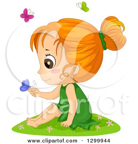 Clipart of a Red Haired White Girl Sitting in Grass and Holding a Butterfly - Royalty Free Vector Illustration by BNP Design Studio