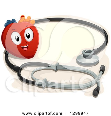 Clipart of a Cartoon Heart Character with a Giant Stethoscope - Royalty Free Vector Illustration by BNP Design Studio