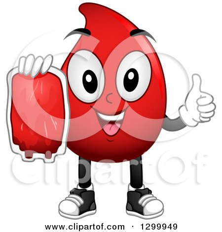 Clipart of a Cartoon Blood Drop Character Holding a Bag and Thumb up - Royalty Free Vector Illustration by BNP Design Studio