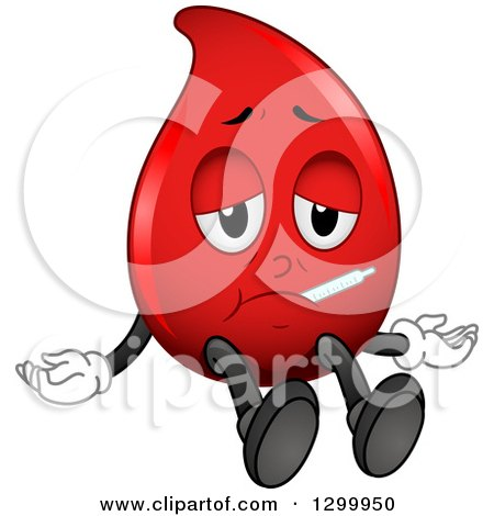 Clipart of a Cartoon Sick Blood Drop Character with a Thermometer - Royalty Free Vector Illustration by BNP Design Studio