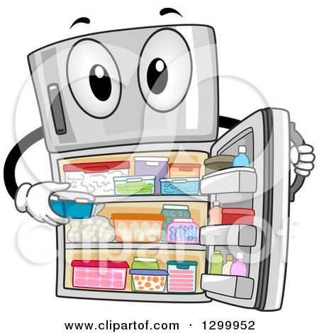 Clipart of a Cartoon Fully Stocked Refrigerator Character - Royalty Free Vector Illustration by BNP Design Studio