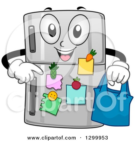 Clipart of a Cartoon Refrigerator Character Holding a Bag and Pointing at Notes - Royalty Free Vector Illustration by BNP Design Studio