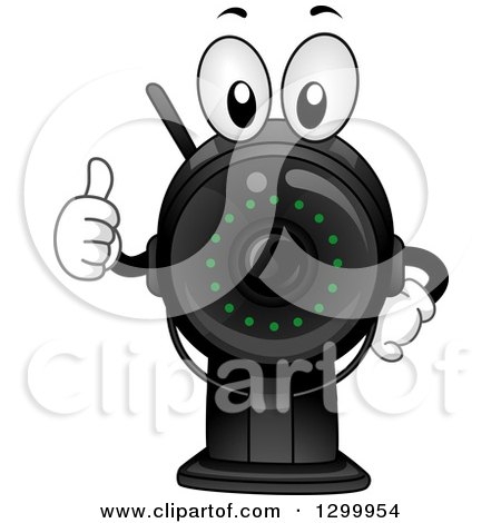 Clipart of a Cartoon Surveillance Camera Character Holding a Thumb up - Royalty Free Vector Illustration by BNP Design Studio