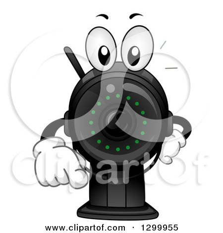 Clipart of a Cartoon Surveillance Camera Character Pointing Outwards - Royalty Free Vector Illustration by BNP Design Studio