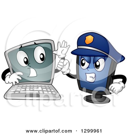 Clipart of a Cartoon Laptop Computer Being Arrested by a Police Desktop Pc - Royalty Free Vector Illustration by BNP Design Studio