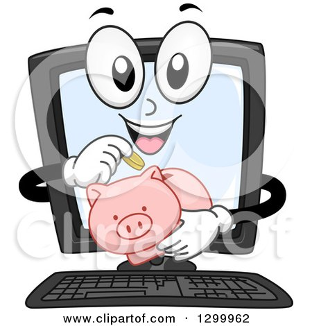 Clipart of a Cartoon Desktop Computer Character Inserting Coins in a Piggy Bank - Royalty Free Vector Illustration by BNP Design Studio
