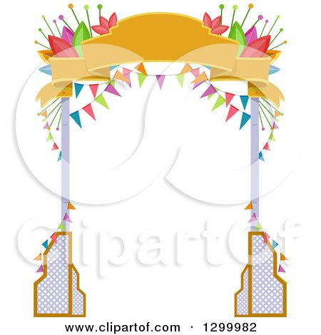 Clipart Of A Party Arch Of Red White And Blue Indpendence