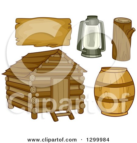 Clipart of a Log Cabin, Barrel, Lantern, Log and Sign - Royalty Free Vector Illustration by BNP Design Studio