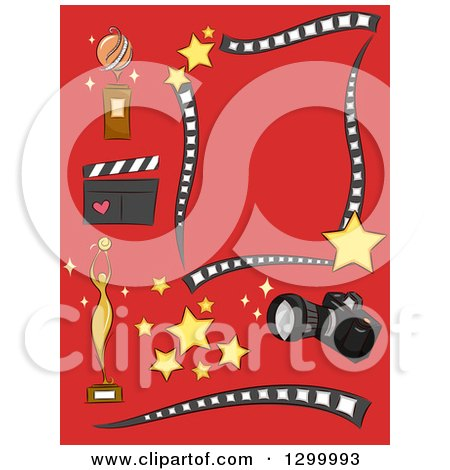 Clipart of Camera Trophy Stars Clapper Photography and Filming Design Elements on Red - Royalty Free Vector Illustration by BNP Design Studio