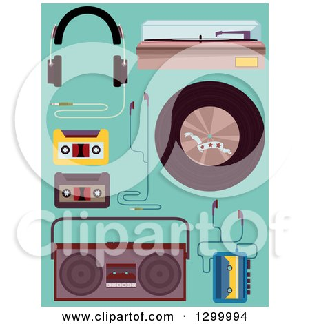 Clipart of Music Equipment and Elements on Turquoise - Royalty Free Vector Illustration by BNP Design Studio