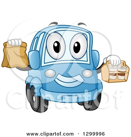 Clipart of a Cartoon Blue Car Character with Take out Food Containers - Royalty Free Vector Illustration by BNP Design Studio