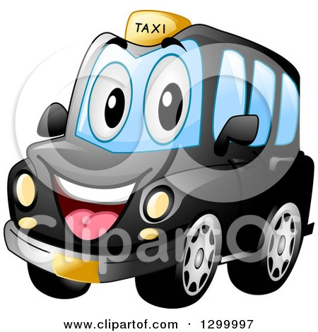 Clipart of a Cartoon Black Taxi Cab Character - Royalty Free Vector Illustration by BNP Design Studio