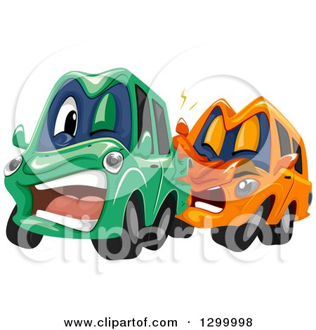 Clipart of Cartoon Cars Colliding - Royalty Free Vector Illustration by BNP Design Studio