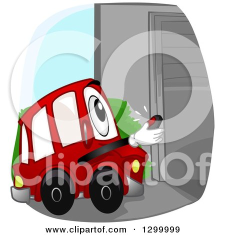 Clipart of a Cartoon Car Character Opening a Garage with a Remote - Royalty Free Vector Illustration by BNP Design Studio