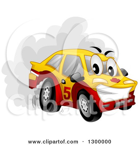 Clipart of a Cartoon Drifting Car Character Spinning Its Tires - Royalty Free Vector Illustration by BNP Design Studio
