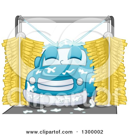 Clipart of a Cartoon Relaxed Blue Car in a Wash - Royalty Free Vector Illustration by BNP Design Studio