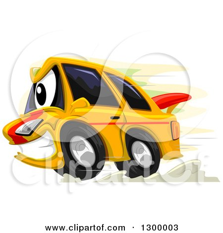 Cartoon Car Traveling Along A Hilly Road Image