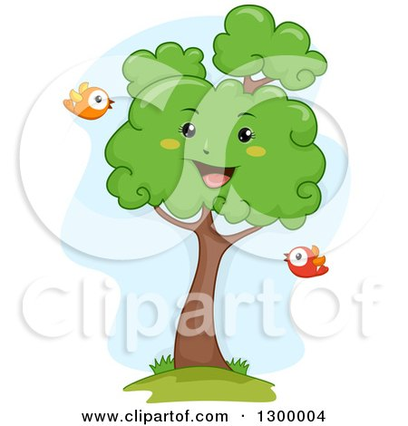 Clipart of a Cartoon Lush Happy Tree with Birds - Royalty Free Vector Illustration by BNP Design Studio