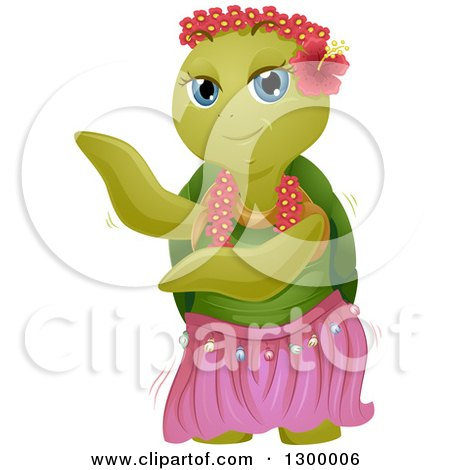 Clipart of a Cartoon Turtle Dancing with a Hula Skirt - Royalty Free Vector Illustration by BNP Design Studio