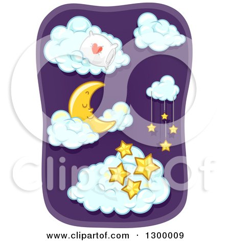 Clipart of a Sleeping Crescent Moon with a Pillow and Stars in the Clouds - Royalty Free Vector Illustration by BNP Design Studio