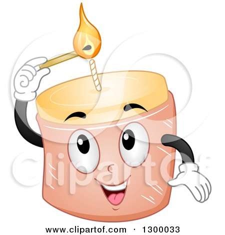 Clipart of a Cartoon Candle Character Lighting Its Wick - Royalty Free Vector Illustration by BNP Design Studio