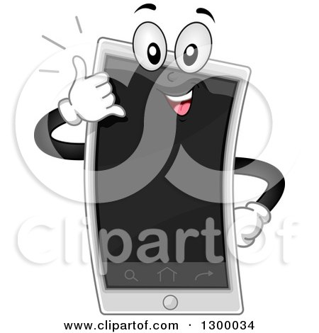 Clipart of a Cartoon Smart Phone Character Gesturing Call Me - Royalty Free Vector Illustration by BNP Design Studio