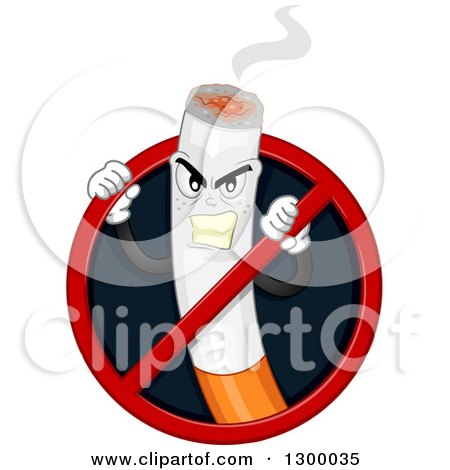 Clipart of a Tough Cigarette Character Trying to Break Through a No Smoking Sign - Royalty Free Vector Illustration by BNP Design Studio