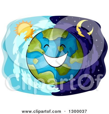 Clipart of a Happy Planet Earth over Day and Night Panels - Royalty Free Vector Illustration by BNP Design Studio
