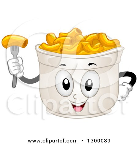 Clipart Of A Cartoon Cup Of Macaroni And Cheese Character
