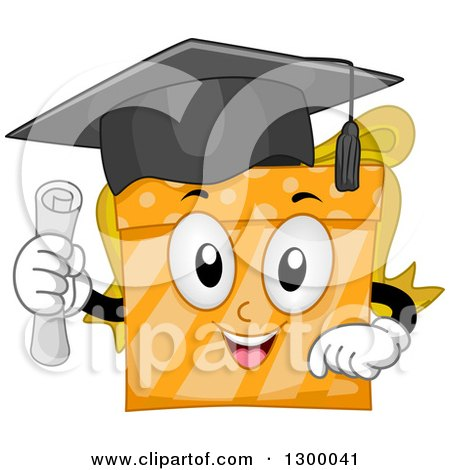 Clipart of a Cartoon Orange Graduate Gift Holding a Diploma - Royalty Free Vector Illustration by BNP Design Studio