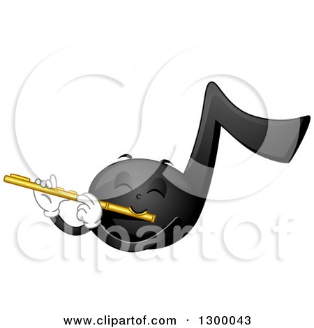 Clipart of a Cartoon Music Note Character Playing a Flute