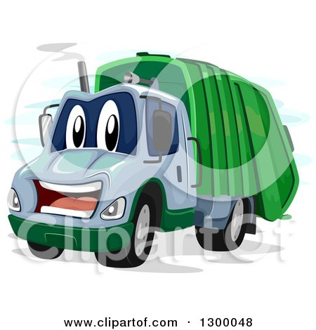 Clipart Of A Cartoon Happy Garbage Truck Royalty Free