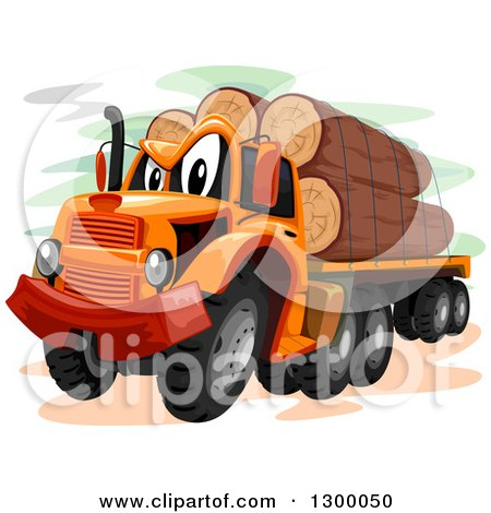 Clipart of a Cartoon Logging Truck - Royalty Free Vector Illustration by BNP Design Studio