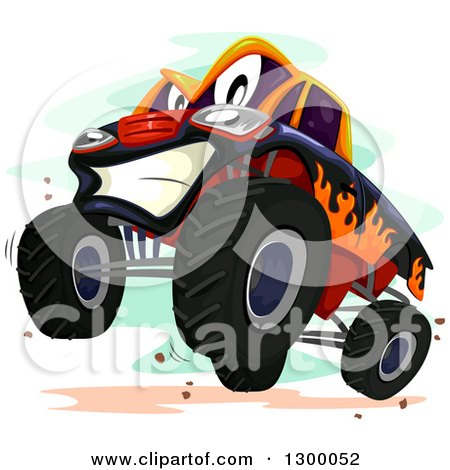 Clipart of a Cartoon Monster Truck Character Rearing - Royalty Free Vector Illustration by BNP Design Studio