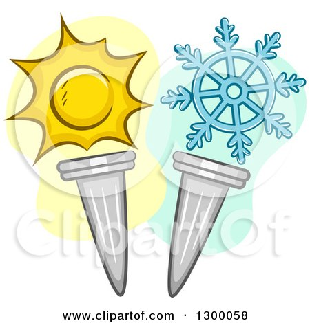 Clipart of Sun and Snowflake Wnter Summer Torches - Royalty Free Vector Illustration by BNP Design Studio