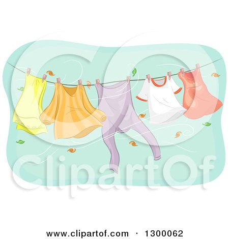 Clipart of a Clothesline with Appareal Swinging in an Autumn Wind - Royalty Free Vector Illustration by BNP Design Studio
