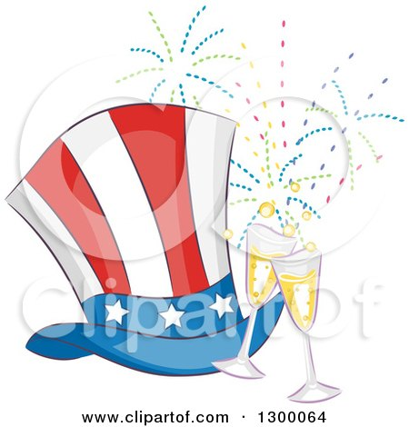Clipart of a Patriotic American Top Hat with Champagne Glasses and Fireworks - Royalty Free Vector Illustration by BNP Design Studio